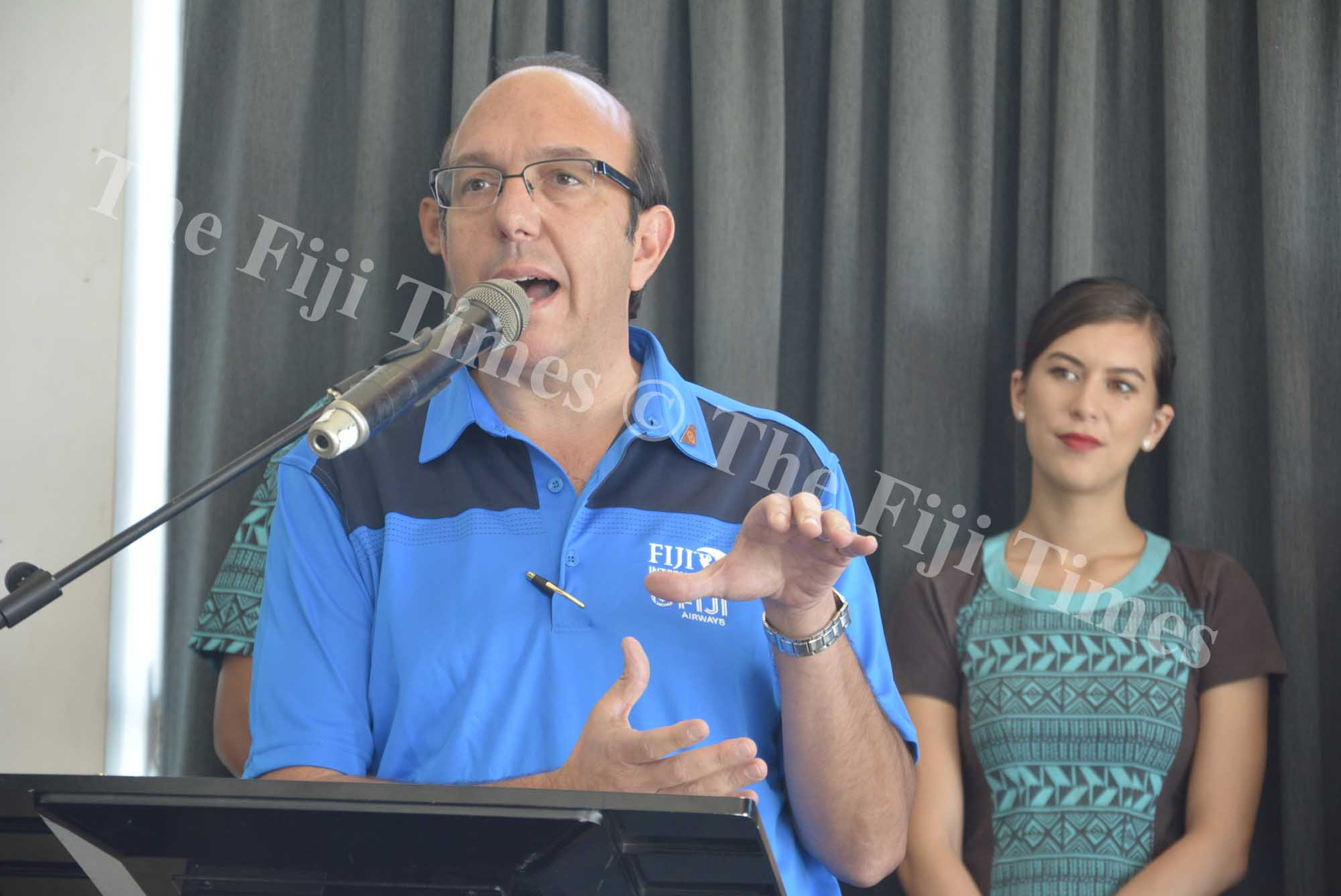 Fiji Airways Chief Commercial Officer Marc Cavaliere speaks during the press conference in Nadi yesterday. Picture: REINAL CHAND