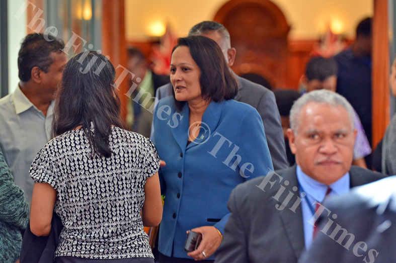 Minister for Health and Medical Services Rosy Akbar in full discussion during break between session at Parliament on Wednesday, July 11, 2018. Picture: JOVESA NAISUA