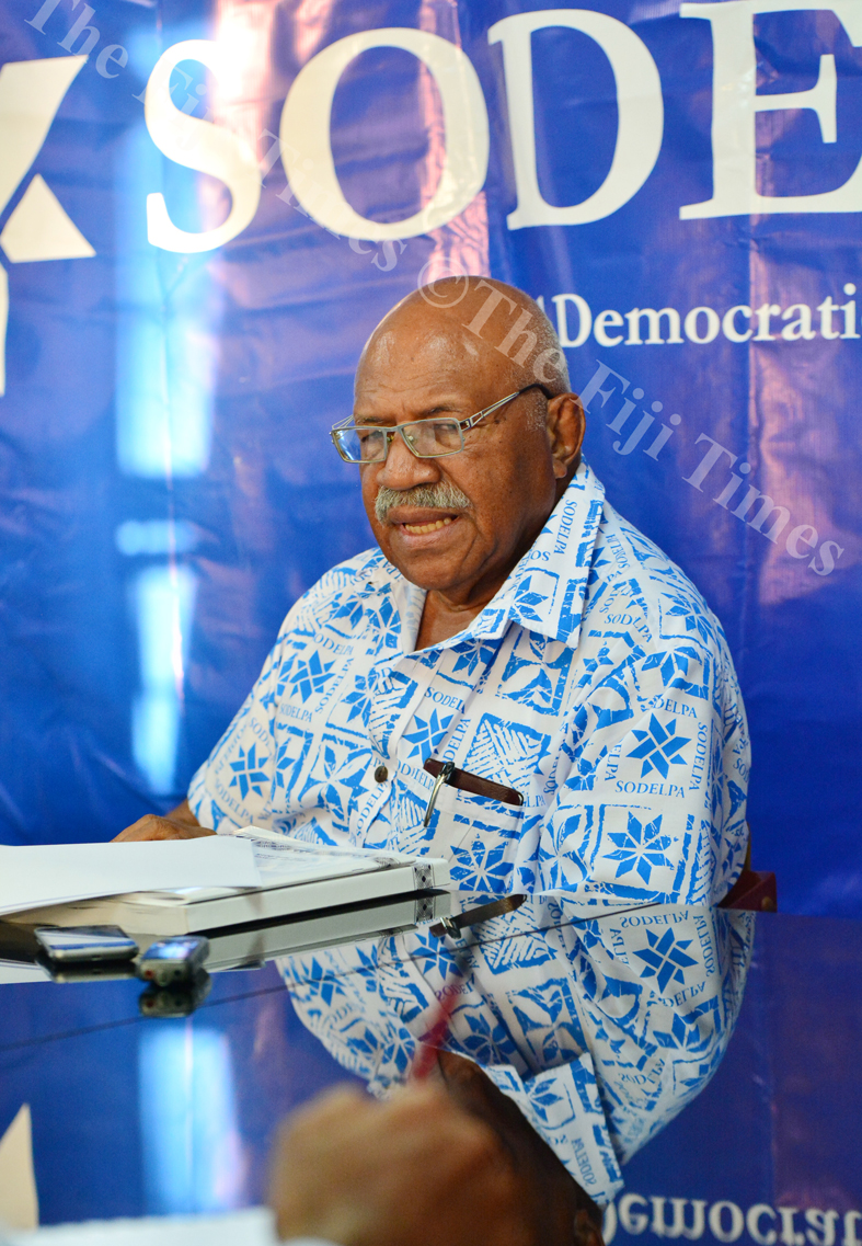SODELPA leader Sitiveni Rabuka speaking during the press conferencea at the SODELPA head office in Suva yesterday. Picture: JOVESA NAISUA