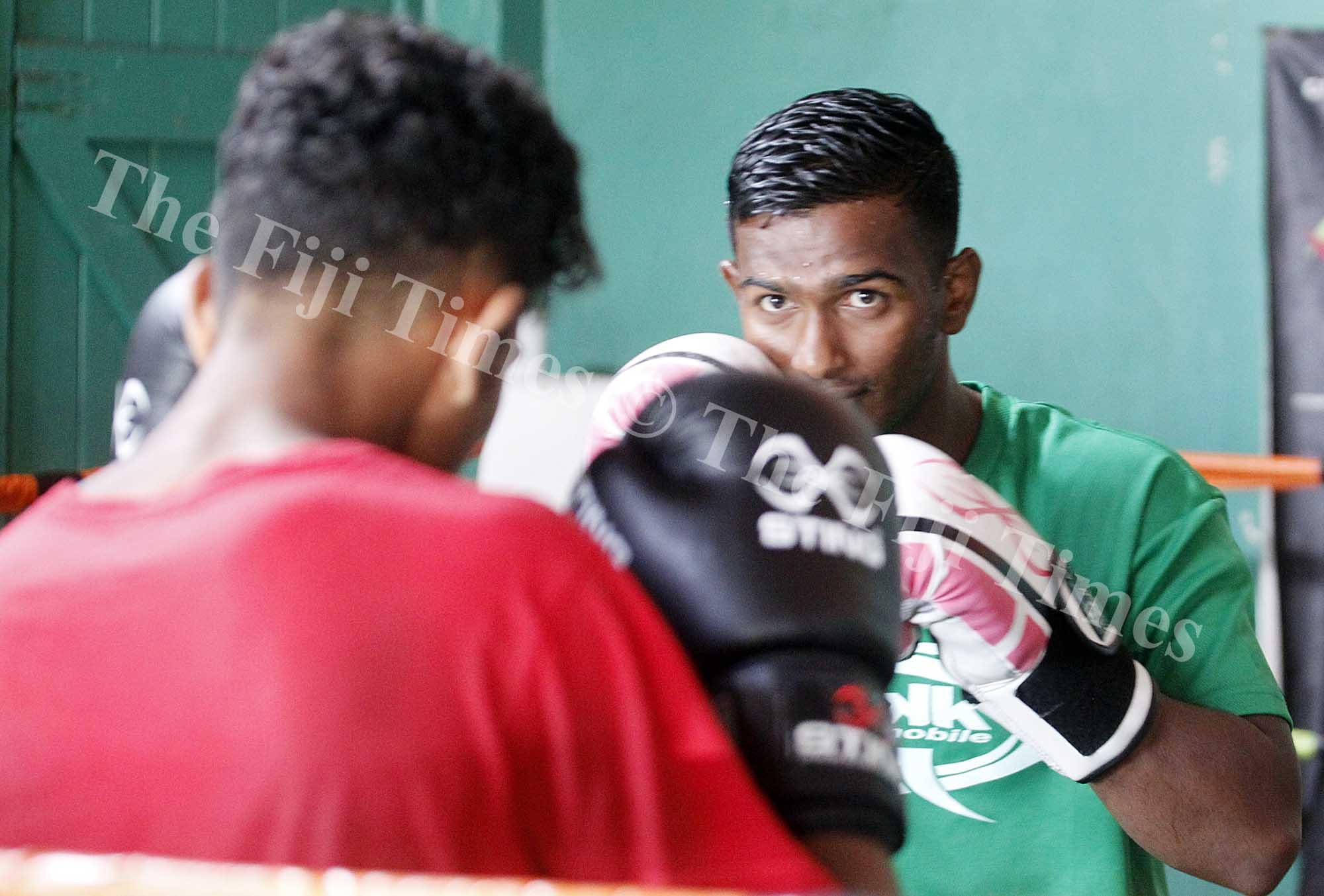 Sebastian Singh during training at Samabula gym yesterday. Picture ATU RASEA