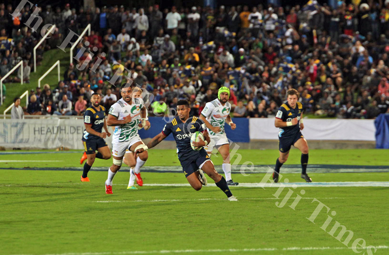 All Blacks and Pulse Energy Highlanders wing, Waisake Naholo breaks through the Gallagher Chiefs defence during their Super Rugby match at the ANZ Stadium in Suva on Saturday, June 30, 2018. Picture: JONACANI LALAKOBAU