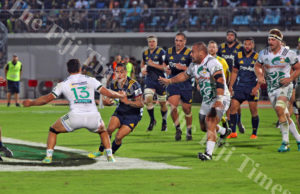 Pulse Energy Highlanders half back, Aaron Smith tries to make his way through the Gallagher Chiefs defence during their Super Rugby match at the ANZ Stadium in Suva on Saturday, June 30, 2018. Picture: JONACANI LALAKOBAU