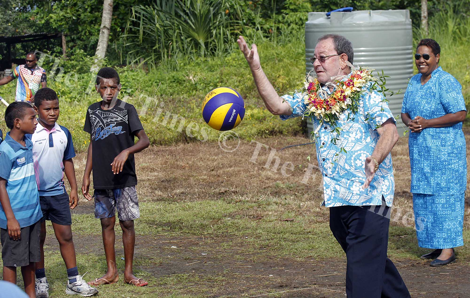 FIJI Sports Commission chairman Peter Mazey served the first ball during the opening of the Lami Community Volleyball tournament yesterday.Picture ATU RASEA