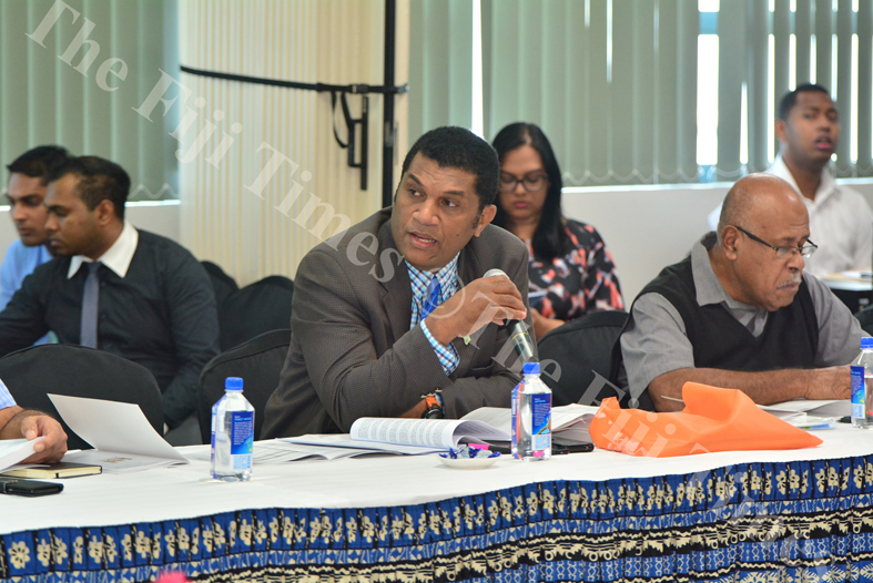 Oppsition MP Aseri Radrodro asks a question during the 2018/2019 National Budget briefing yesterday. Picture: JOVESA NAISUA