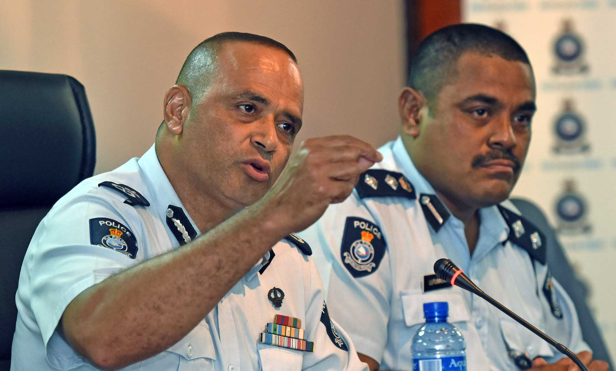 Police commissioner Sitiveni Qiliho (left) and SSP Aporosa Lutunauga during the press conference on police crime stats of 2017. Picture: RAMA
