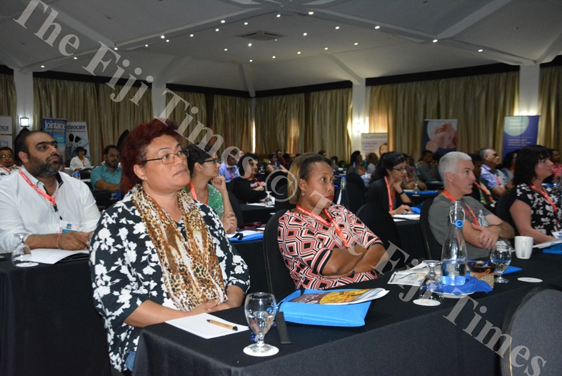 PARTICIPANTS of the Fiji College of General Practitioners conference visiting the various health booths on display at the conference. Picture: AQELA SUSU