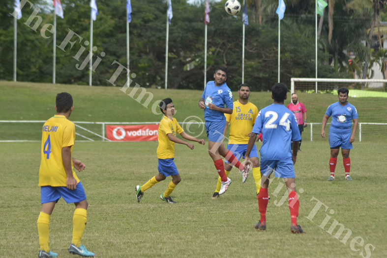 Lautoka's Mehul lal clears the ball against Melbourne during their match in the Kshatriya soccer tournament at Prince Charles Park Nadi. Picture: REINAL CHAND