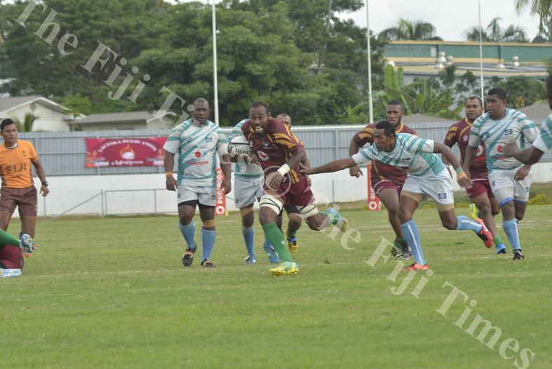 Lautoka's Jimilai Kotobalavu goes on attack against Serua during their match at Churchill Park Lautoka. Picture: REINAL CHAND