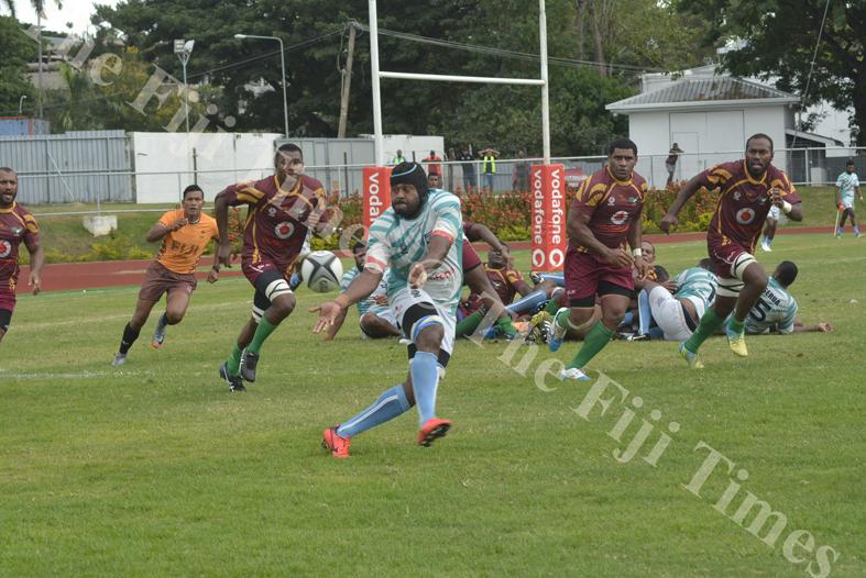 Emosi Lutunaika in action for Serua against Lautoka during their match at Churchill Park Lautoka. Picture: REINAL CHAND