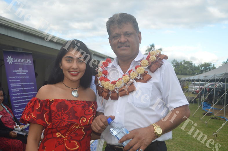 SODEPLA Vice President Vijay Singh with his daughter Jayveen Kaur at the Party's Annual General Meeting in Lautoka. Picture: SHAYAL DEVI
