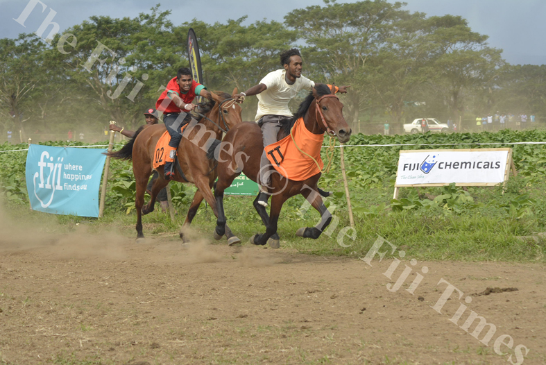 Jockey Luke Buadromo rides the horse SODELPA to victory in the Fiji Times Local Horse 1500m Race at the Sabeto Races in Nadi. Picture: REINAL CHAND