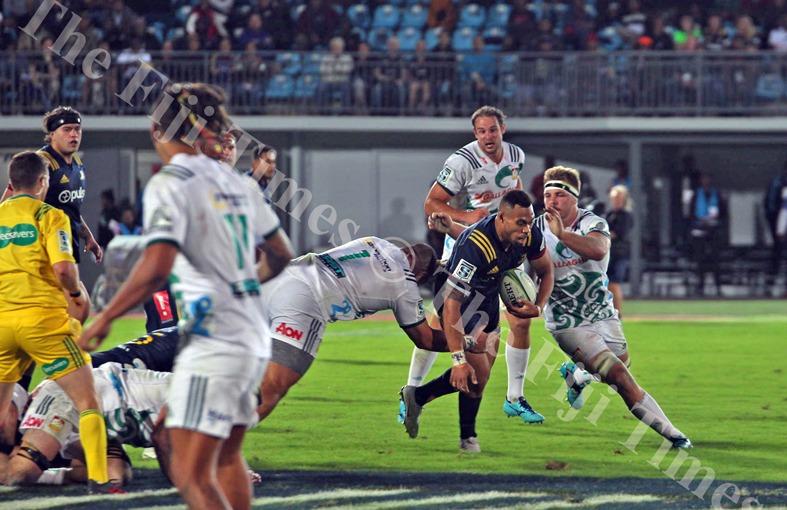 Pulse Energy Highlanders wing, Tevita Li is tackled by the Gallagher Chiefs defence during their Super Rugby match at the ANZ Stadium in Suva on Saturday, June 30, 2018. Picture: JONACANI LALAKOBAU