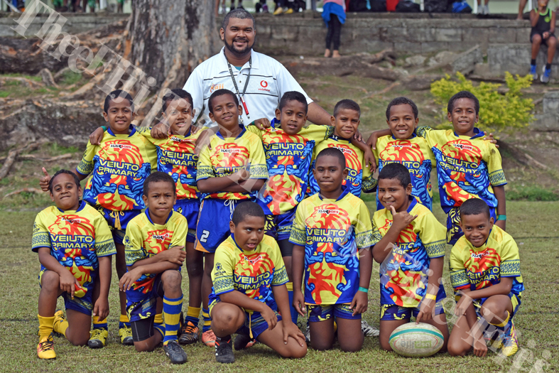 Veiuto Primary pose for a team pic during the Suva Kaji rugby at Gospel grounds yesterday. Picture: RAMA