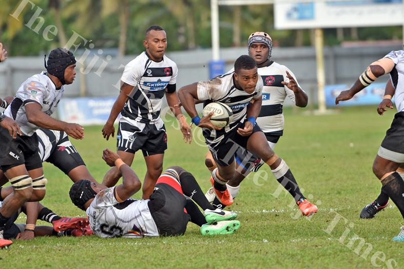 Nemani Sarasara of Rewa attacks against Nadroga during the Skipper cup challenge at Ratu Cakobau Park yesterday. Picture: RAMA