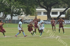 Serua outside back Mitieli Lotawa tries to beat the Lautoka defence during their match at Churchill Park Lautoka. Picture: REINAL CHAND