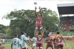 Lautoka's Masi Baleinavere wins a line out against Serua during their match at Churchill Park Lautoka. Picture: REINAL CHAND
