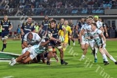 Pulse Energy Highlanders flanker Dillon Hunt on attack against the Gallagher Chiefs defence during their Super Rugby match at the ANZ Stadium in Suva on Saturday, June 30, 2018. Picture: JONACANI LALAKOBAU