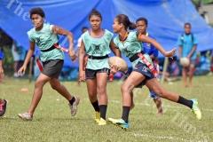 Lorraine Saula Nausori Primary School attacks against St John The Worker during the girls school Kaji rugby at Ratu Cakobau park ground 2 yesterday. Picture: RAMA