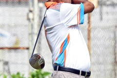 Shalend Prakash of Dai Ichi Sports tee off during the Marist Golf tournament at Fiji Golf Club yesterday. Picture: RAMA