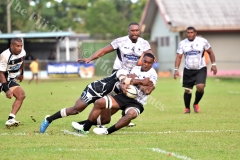 Jone Navori of Nadroga brought down by Rewa players during the Skipper cup challenge at Ratu Cakobau Park yesterday. Picture: RAMA