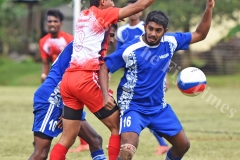 Anish Khem of Labasa (Red 8) tussle for the ball against Lautoka during the Shree Sanatan Dharm Pratinidhi Sabha Fiji IDC soccer tournament at Marcellin School grounds yesterday. Picture: RAMA