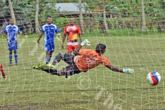 Goalkeeper Vineshwar Gounder of Lautoka fails to stop the penalty from a Labasa player during the Shree Sanatan Dharm Pratinidhi Sabha Fiji IDC soccer tournament at Marcellin School grounds yesterday. Picture: RAMA