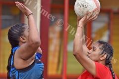 Shamla Chand of Rewa Sanatan takes a shot at basket against Nabua Sanatan during the Shree Sanatan Dharm Pratinidhi Sabha Fiji netball IDC at Samabula Primary School yesterday. Picture: RAMA