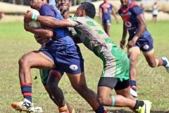 Action from Assembelies of God and Jhon Wesley College during the Southern Zone under 18 school rugby at Suva Grammar grounds yesterday. Picture: RAMA