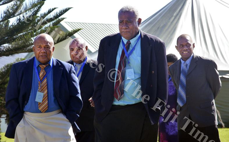 Tui Yasawa Jone Cakau (left) with  Tui Nawaka Ratu Asaeli Driu,Livai Lobau and Tui Drola Ratu Manasa Naikasowalu at the  Ba Provincial Council meeting at Viseisei village in Lautoka yesterday. Picture: BALJEET SINGH