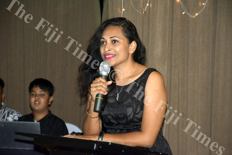 Mai Life Magazine Publisher Naziah Ali speaks at the Bayshore Fiji Real Estate Awards Night in Nadi. Picture: REINAL CHAND