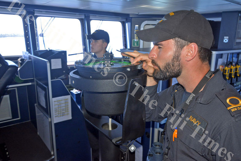 Ensign Dillon Cooks helps navigate the HMNZS out of Lautoka Port with the help of Pelorus equipment. Picture: SHAYAL DEVI