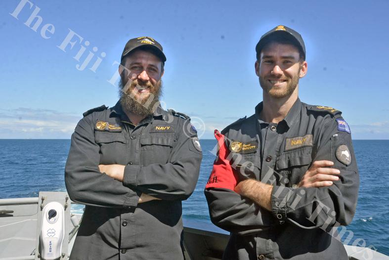 Petty Officer Electronic Technician Joshua Wellington, left, with Leading Electronic Technician Daniel Enticott. Picture: SHAYAL DEVI