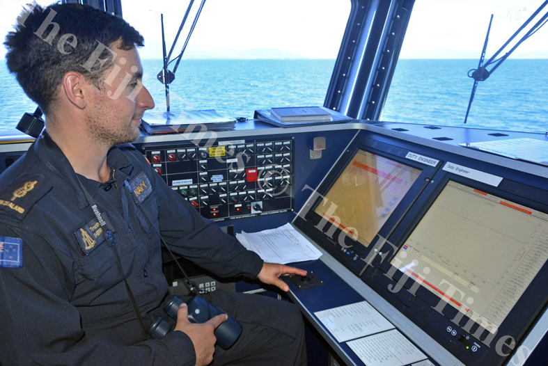 Able Seaman Timothy Sherriff monitors equipment on board the HMNZS Taupo. Picture: SHAYAL DEVI