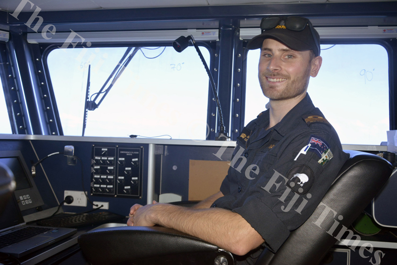 Captain of the HMNZS, Lieutenant Benjamin Flight, oversees all aspects of operation on board the ship. Picture: SHAYAL DEVI