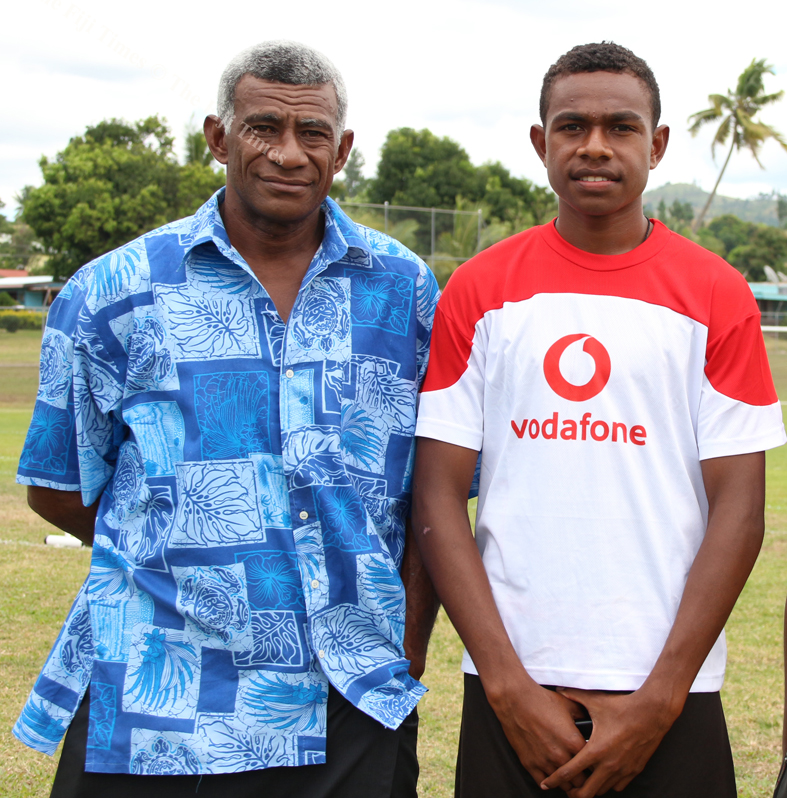 like father like son Isikeli Seva Snr and Ilsikeli Seva Jnr t the Fiji FA academy in Ba. pix supplied