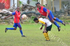 Ajesh Kumar of the Navua Sanatan football team heads the ball away during the final of the 59th Sanatan Vodafone IDC Masters match against Nadroga yesterday. Picture: JOVESA NAISUA