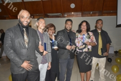 Bayshore Fiji Real Estate Director Arif Khan (closest to camera) with the award recipients Nathaniel Khan (Rookie of the Year), Titilia Mondoro (Administrator of the Year), Pita Whippy (Top Real Estate Sales agent of the Year), Mildred Wade (Leasing Agent of the Year) and william Miller (2017 Sales Agent of the Year) pose for a photo after the Awards ceremony in Nadi. Picture: REINAL CHAND