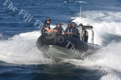 The patrol team on board a Rigid Hull Inflatable Boat (RHIB). Picture: SHAYAL DEVI