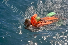 Able Seaman Chelsea Thomas during a man overboard training exercise. Picture: SHAYAL DEVI