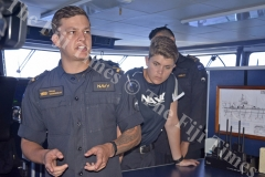 Sub Lieutenant Fletcher Slierendrecht conducts a briefing on board the HMNZS Taupo. Picture: SHAYAL DEVI