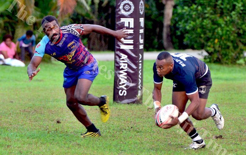 Fiji 7s winger Alasio Naduva runs away from a Tabadamu player during their scrimmage session at Uprising grounds. Picture: JONACANI LALAKOBAU