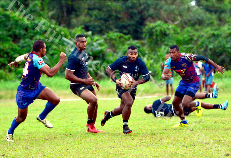 Fiji 7s captain Jerry Tuwai runs through a gap during their scrimmage session with Tabadamu at the Uprising grounds. Picture: JONACANI LALAKOBAU
