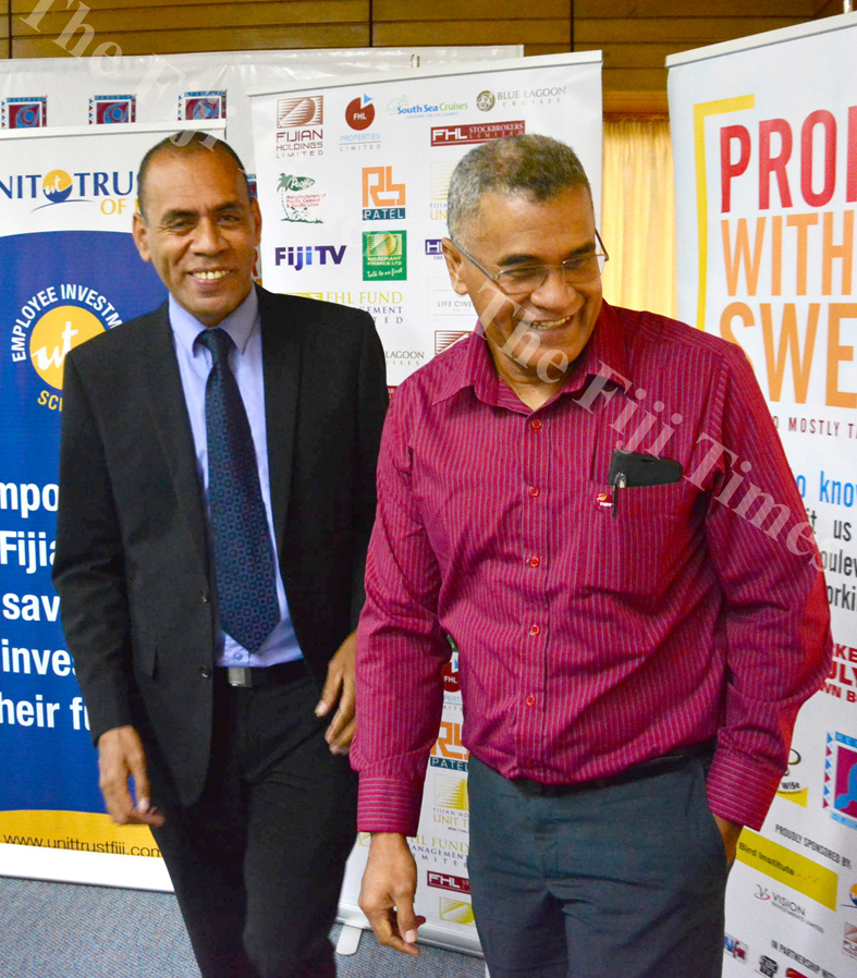 Sakiusa Bolaira (Uniti Trust of Fiji) and FNPF's Jaoji Koroi during the launch of Capital Markets Week in Suva. Picture: ELIKI NUKUTABU