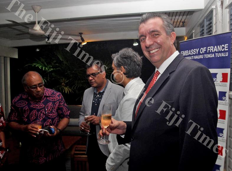 Suez director Didier Vallon celebrate ater the launching on Monday night. Picture: JONA KONATACI
