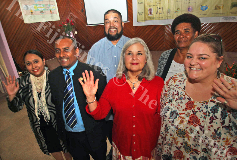 Gospel High School principal Immanuel Prasad (second from left) with guest speaker Susan Heck and teachers after their seminar at the Samabula Gospel Chapel yesterday. Picture: JONA KONATACI