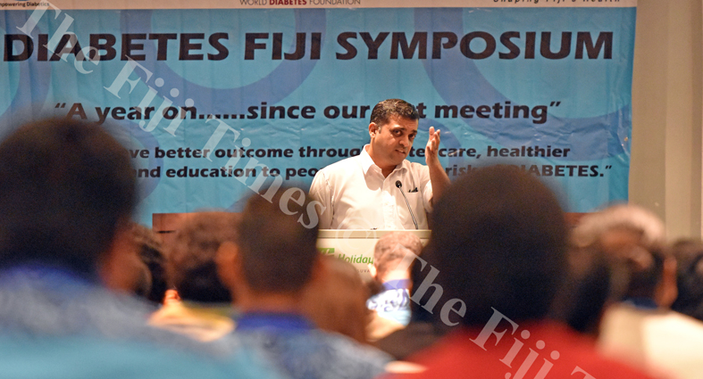 Dr Rajeev Patel adresses the participants during the 2nd Diabetes Fiji Symposium at Holiday Inn yesterday. Picture: RAMA