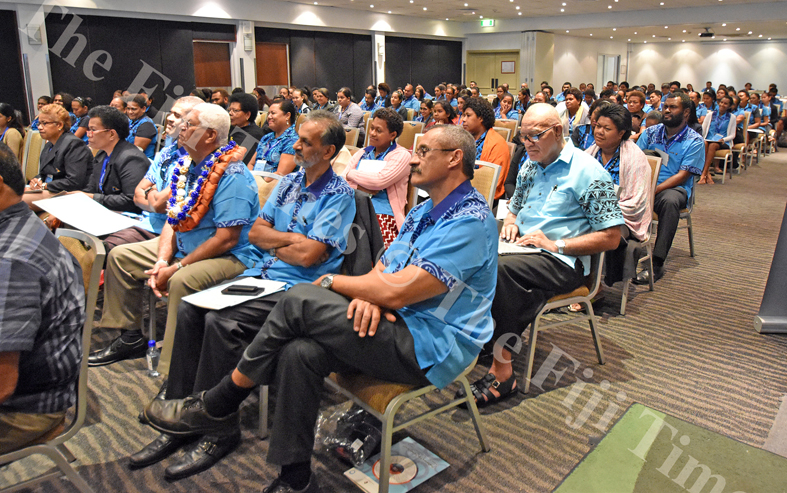 Dr Eddie McCaig (nearest to camera) with other participants during the 2nd Diabetes Fiji Symposium at Holiday Inn yesterday. Picture: RAMA