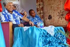 PM Voreqe Bainimarama enjoys a meke entertainment by the vanua o Bua during the Government Road Show in Wainunu yesterday. Picture LUKE RAWALAI