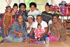 Wife Luisa (left), 1 year old Grace with dad Fiji Airways 7's sledge hammer Eroni Sau and 4 year old Esther Sau (left) with family members at their home yesterday prior to leaving for HSBC World 7's at San Fransisco,USA today. Picture: RAMA