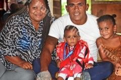 Wife Luisa (left),Fiji Airways 7's sledge hammer Eroni Sau with his 1 year old baby Grace and 4 year old Esther at his home yesterday prior to leaving for HSBC World 7's at San Fransisco,USA today. Picture: RAMA